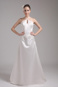 A-line Straps Beading Satin Wedding Dress