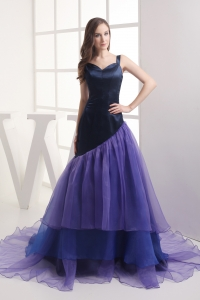 A-line Straps Multi-color Ruffled Layers Organza Prom Dress