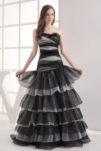 A-line Sweetheart Black Ruffled Layers Prom Dress