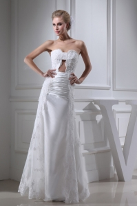 A-line Sweetheart Lace Ruching Long Wedding Dress