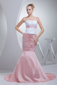 Appliques Beading Mermaid Court Train Strapless Prom Dress