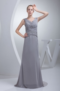 Beading Ruching V-neck Brush Train Column Prom Dress