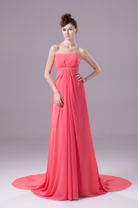 Beading Strapless Watteau Train Watermelon Prom Dress