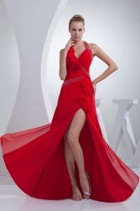 Beading and High Slit Red Halter Long Prom Dress