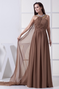 Beading and Ruching Brown Watteau Train Prom Dress