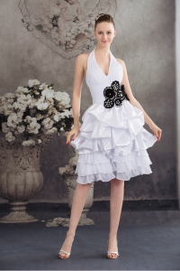 Black Hand Made Flowers Halter Top Princess Short Wedding Dress