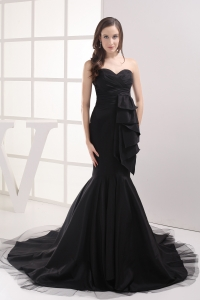 Black Mermaid Sweetheart Ruching Prom Dress