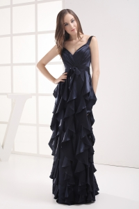 Column Navy Blue V-neck Ruffled Layers Ruching Prom Dress