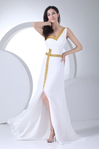 Column One Shoulder Ruching Sequins Wedding Dress