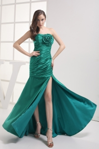 Column Strapless High slit Hand Made Flower Ruching Prom Dress
