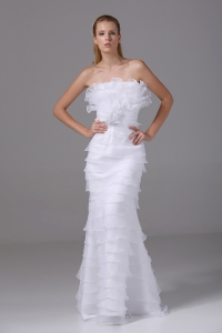 Column Strapless Ruffled Layers Organza Wedding Dress