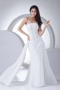 Column V-neck Appliques Chiffon Wedding Dress