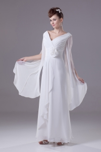 Column V-neck Hand Made Flower Ruching Wedding Dress