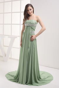 Empire Strapless Beading Chiffon Ruching Prom Dress