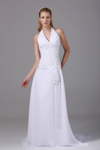 Halter Top Column Chiffon Appliques And Ruch Wedding Dress