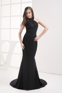 Halter Top Mermaid Beading Black Prom Dress