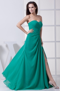 High Slit Sweetheart Ruching Column Prom Dress