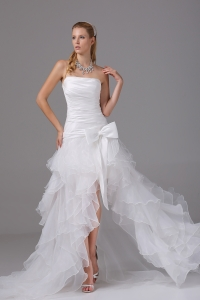 High-low Strapless Ruching Bow Organza Wedding Dress