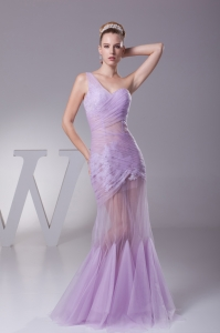 Lavender One Shoulder Mermaid Ruching Appliques Prom Dress
