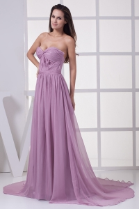 Lavender Sweetheart Ruching Court Train Prom Dress