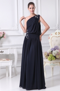 Navy Blue One Shoulder Beading Empire Prom Dress