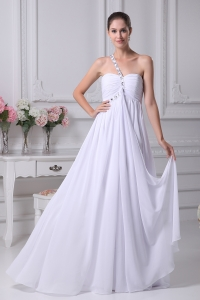One Shoulder Beading Ruching Empire Long Wedding Dress