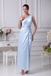 One Shoulder Light Blue Ruching Ankle-length Prom Dress