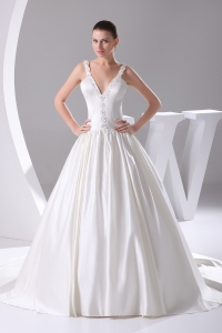 Romantic A-Line Straps Court Train Satin Beading Wedding Dress