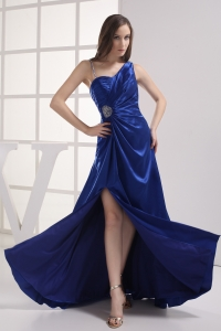 Royal Blue High Slit Asymmetrical Ruching Beading Prom dress