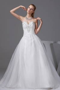 Ruching Beading Sweetheart A-line Wedding Dress
