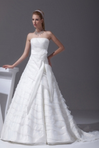 Sash Ruffled Layers A-line Brush Train Wedding Dress