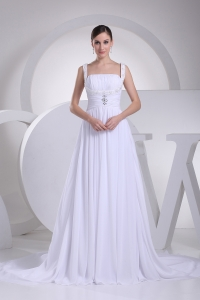 Straps Ruching Beading Court Train Empire Wedding Dress