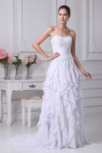 Sweehteart Ruffles Embroidery Brush Train Chiffon Wedding Dress