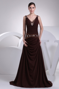 V-neck A-line Brown Beading Brush Train Prom Dress
