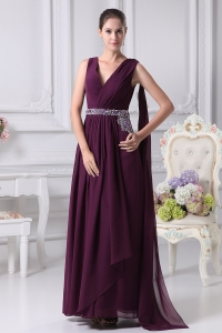 V-neck Watteau Train Dark Purple Empire Prom Dress