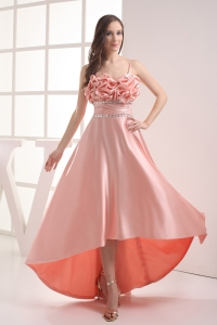 Watermelon Sapghetti Straps Beading High-low Ruching Prom Dress