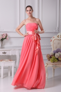 Watermelon Sash Strapless Empire Long Prom Dress