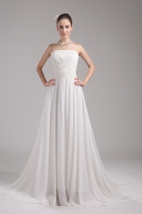 A-line Strapless Ruching Chiffon Wedding Dress