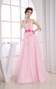 Baby Pink Sweetheart Appliques Organza Prom Dress
