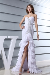 Beading White Sweetheart Mermaid Brush Train 2013 Beautiful Prom Dress
