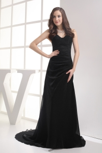 Black Sweetheart Brush Train Ruching Column Prom Dress
