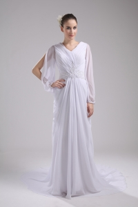 Column V-neck Ruching Long Sleeves Wedding Dress