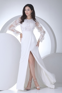 Empire Long Sleeves Scoop Appliques High Slit Wedding Dress