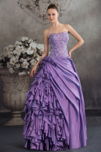 Lavender Ruffles Hand Made Flowers Embroidery Quinceanera Dress
