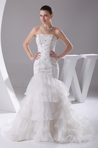 Mermaid Beading Ruffled Layers Brush Train Wedding Dress