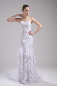Mermaid Sweetheart Embroidery Ruffles Wedding Dress