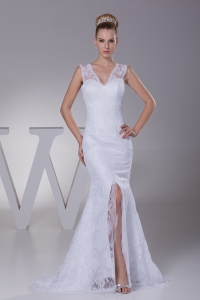 Mermaid V-neck High Slit Brush Train Wedding Dress