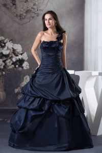 Navy Blue One Shoulder Hand Made Flowers Quinceanera Dress
