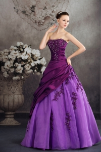Purple Quanceanera Dress with Appliques A-line Strapless