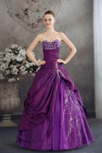 Purple Sweetheart Embroidery Long Beading Quinceanera Dress